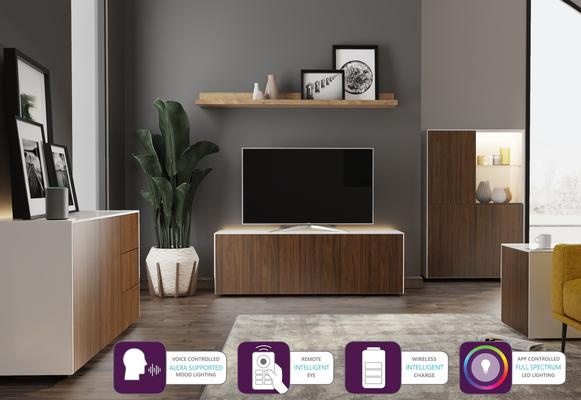 Contemporary High Gloss White and Walnut Sideboard With Wireless Phone Charging And LED Mood Lighting image 6