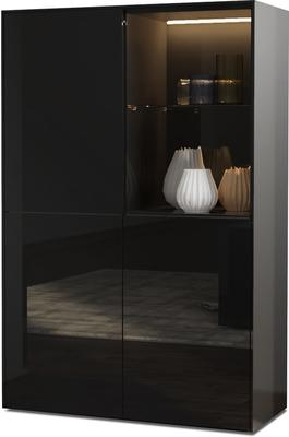 Contemporary High Gloss Black Display cabinet with Hidden Wireless Phone Charging