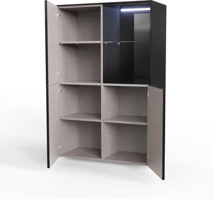 Contemporary High Gloss Black Display cabinet with Hidden Wireless Phone Charging image 2