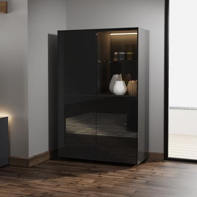 Contemporary High Gloss Black Display cabinet with Hidden Wireless Phone Charging image 4