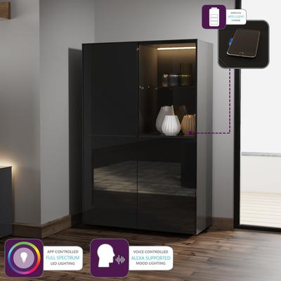 Contemporary High Gloss Black Display cabinet with Hidden Wireless Phone Charging image 5