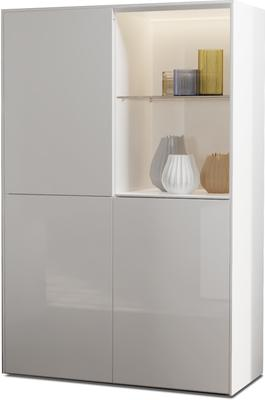 Contemporary High Gloss White Display cabinet with Hidden Wireless Phone Charging