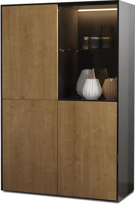 Contemporary High Gloss Black and Oak Effect Display cabinet with Hidden Wireless Phone Charging