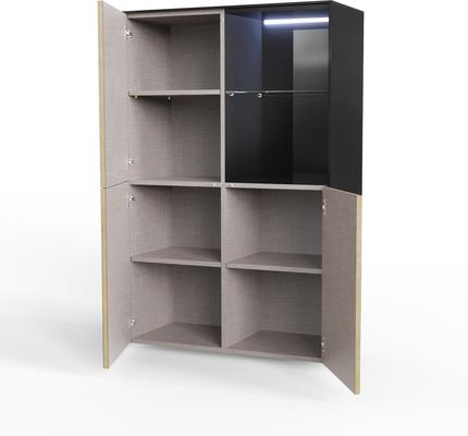Contemporary High Gloss Black and Oak Effect Display cabinet with Hidden Wireless Phone Charging image 2