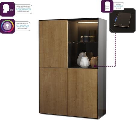 Contemporary High Gloss Black and Oak Effect Display cabinet with Hidden Wireless Phone Charging image 3