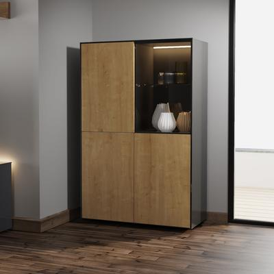 Contemporary High Gloss Black and Oak Effect Display cabinet with Hidden Wireless Phone Charging image 4