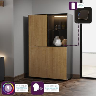 Contemporary High Gloss Black and Oak Effect Display cabinet with Hidden Wireless Phone Charging image 5