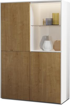 Contemporary High Gloss White and Oak Effect Display cabinet with Hidden Wireless Phone Charging