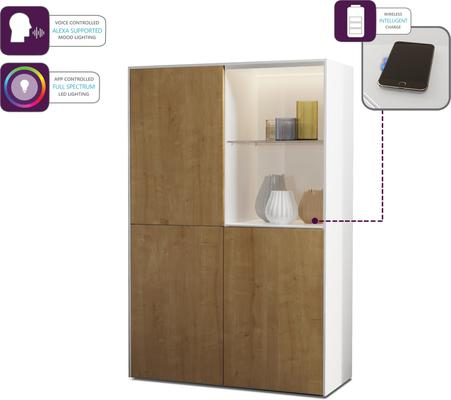 Contemporary High Gloss White and Oak Effect Display cabinet with Hidden Wireless Phone Charging image 3