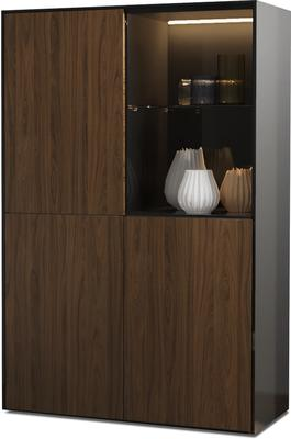 Contemporary High Gloss Black and Walnut Effect Display cabinet with Hidden Wireless Phone Charging