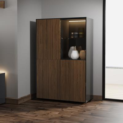 Contemporary High Gloss Black and Walnut Effect Display cabinet with Hidden Wireless Phone Charging image 2