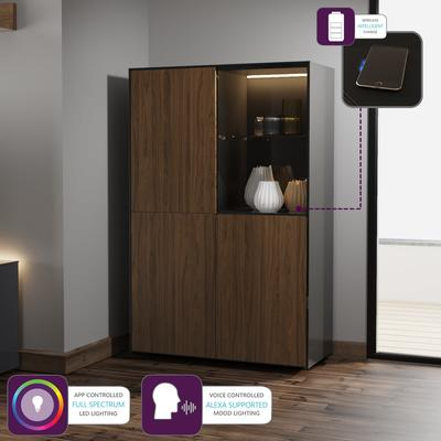 Contemporary High Gloss Black and Walnut Effect Display cabinet with Hidden Wireless Phone Charging image 3