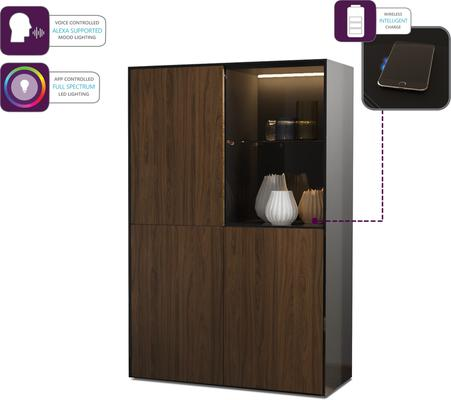 Contemporary High Gloss Black and Walnut Effect Display cabinet with Hidden Wireless Phone Charging image 4