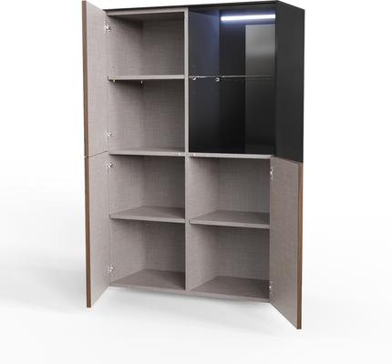 Contemporary High Gloss Black and Walnut Effect Display cabinet with Hidden Wireless Phone Charging image 5