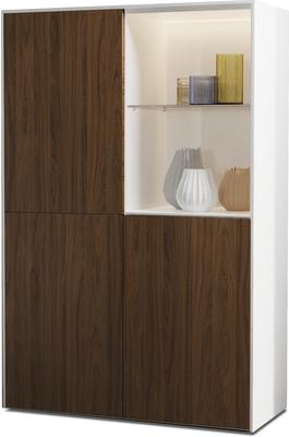 Contemporary High Gloss White and Walnut Effect Display cabinet with Hidden Wireless Phone Charging