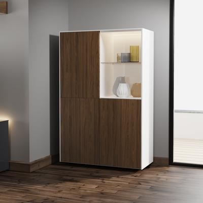 Contemporary High Gloss White and Walnut Effect Display cabinet with Hidden Wireless Phone Charging image 4