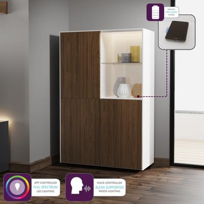 Contemporary High Gloss White and Walnut Effect Display cabinet with Hidden Wireless Phone Charging image 5