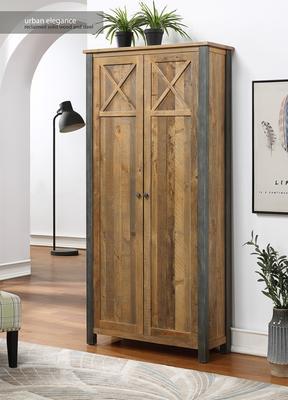 Urban Elegance Living Room High Cabinet Reclaimed Wood and Aluminium