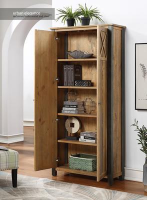 Urban Elegance Living Room High Cabinet Reclaimed Wood and Aluminium image 2