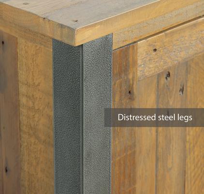 Urban Elegance Living Room High Cabinet Reclaimed Wood and Aluminium image 3
