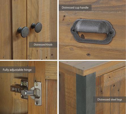 Urban Elegance Three Door Four Drawer Sideboard Reclaimed Wood and Aluminium image 3