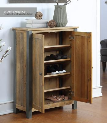 Urban Elegance Large Shoe Cupboard Reclaimed Wood and Aluminium