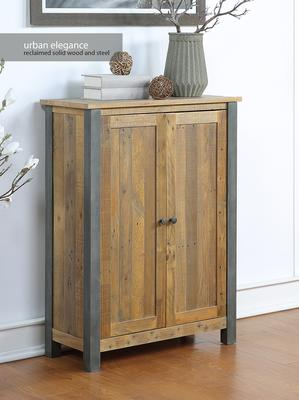 Urban Elegance Large Shoe Cupboard Reclaimed Wood and Aluminium image 2
