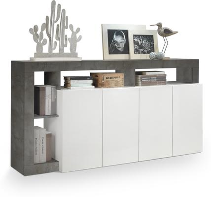 Florence  Sideboard Four Doors - White Gloss and Anthracite Finish