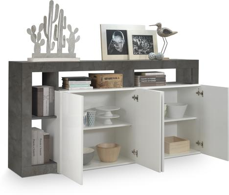 Florence  Sideboard Four Doors - White Gloss and Anthracite Finish image 2