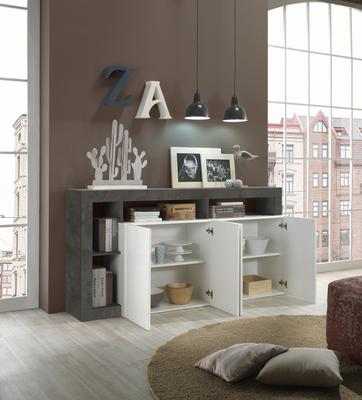 Florence  Sideboard Four Doors - White Gloss and Anthracite Finish image 3