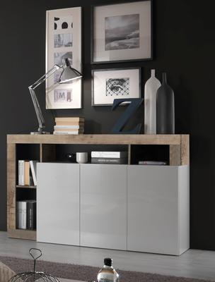 Florence Three Door Sideboard- White Gloss with Natural Finish image 3
