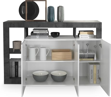 Florence Three Door  Sideboard - White Gloss and Anthracite Finish image 2