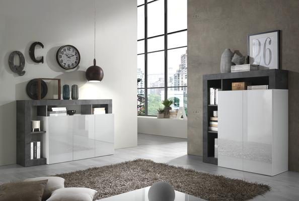 Florence Three Door  Sideboard - White Gloss and Anthracite Finish image 3