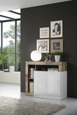 Florence Sideboard Two Doors - White Gloss and Natural  Finish