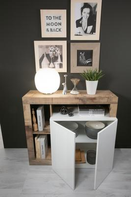 Florence Sideboard Two Doors - White Gloss and Natural  Finish image 2