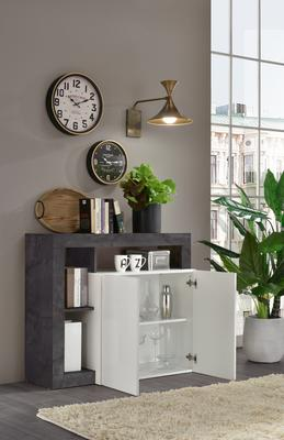 Florence Sideboard  Two Doors - White Gloss and  Anthracite  Finish image 2
