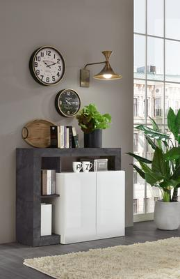 Florence Sideboard  Two Doors - White Gloss and  Anthracite  Finish