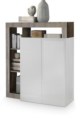 Florence High Sideboard Two Doors - White Gloss and Natural Finish