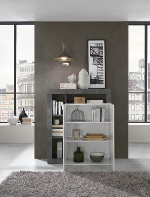 Florence High Sideboard Two Doors - White Gloss and Anthracite Finish image 2