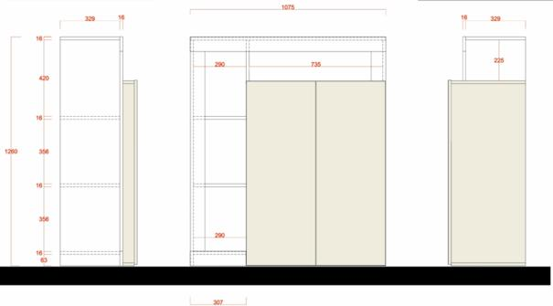 Florence High Sideboard Two Doors - White Gloss and Anthracite Finish image 3