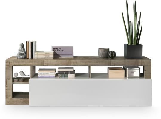 Florence Small TV Stand- White Gloss and Natural Finish