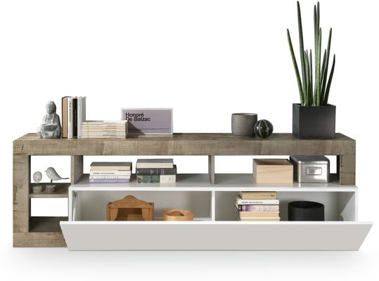 Florence Small TV Stand- White Gloss and Natural Finish image 2