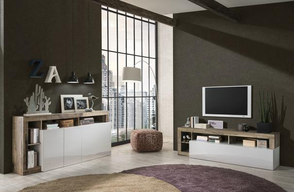 Florence Small TV Stand- White Gloss and Natural Finish image 3