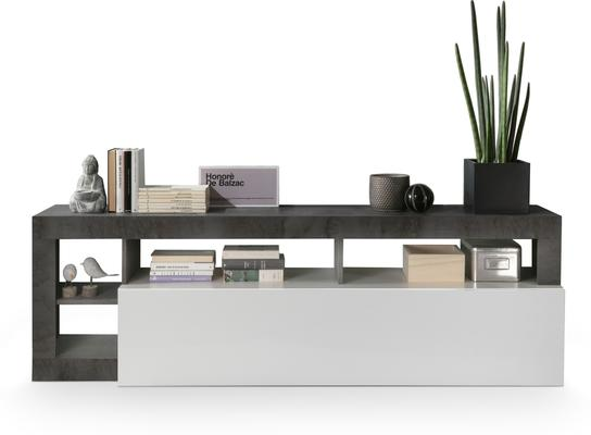 Florence Low Sideboard - White Gloss and Anthracite  Finish