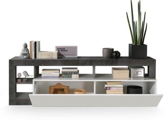 Florence Small TV Stand - White Gloss and Anthracite  Finish image 2