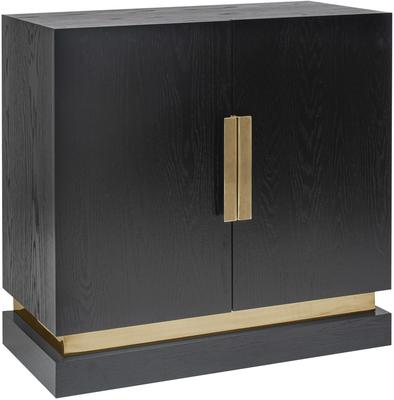 Belmond Black Wenge Oak Sideboard 2 Door with Brass Handles