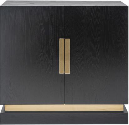Belmond Black Wenge Oak Sideboard 2 Door with Brass Handles image 2