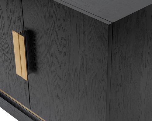 Belmond Black Wenge Oak Sideboard 2 Door with Brass Handles image 4