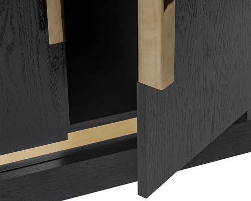 Belmond Black Wenge Oak Sideboard 2 Door with Brass Handles image 5