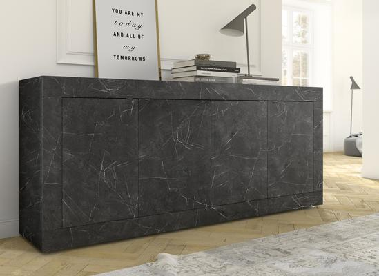 Urbino Collection Four Door Sideboard - Matt Black Marble Finish